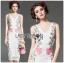 Dress เดรสผ้าลูกไม้ทรงบอดี้คอนตกแต่งลายดอกไม้สีชมพู thumbnail 3