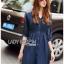 Lady Ribbon Korea Dress LR10060616 &#x1F380 Lady Ribbon's Made &#x1F380 Lady Natalie Minimal Chic Crystal Embroidered Organza and Denim Cotton Shirt Dress thumbnail 1
