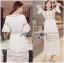 Lady Ribbon Korea Dressเสื้อผ้า LR22010816 &#x1F380 Lady Ribbon's Made &#x1F380 Lady Abigail Hippie Holiday Floral Embroidered Lace and Cotton Maxi Dress เดรสยาวผ้า thumbnail 1