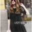 Lady Ribbon's Made &#x1F380 Lady Elena Feminine Cross Dot Printed Chiffon and Knitted Dress thumbnail 6