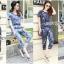 Lady Ribbon เสื้อผ้าเกาหลี LR16110716 &#x1F380 Lady Ribbon's Made &#x1F380 Lady Taylor Street Chic Fashionable Printed Soft Denim Set เซ็ต thumbnail 1