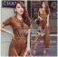 Lady Ribbon Korea Closet LR16270616 &#x1F380 Lady Ribbon's Made &#x1F380 Lady Lyla Modern Minimal Chic Lacy Camel Jumpsuit thumbnail 1
