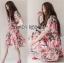Lady Ribbon เสื้อผ้าเกาหลี LR04140716 &#x1F380 Lady Ribbon's Made &#x1F380 Gucci Sweet Natural Floral Printed Mini Pink Dress เดรสสีชมพูพิมพ์ลายดอกไม้ thumbnail 3