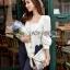 Lady Ribbon Korea Closet Jumpsuit LR15300616 &#x1F380 Lady Ribbon's Made &#x1F380 Lady Natasha Sweet Smart Ribbon and Striped Jumpsuit จัมป์สูท thumbnail 3