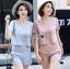 Lady Ribbon Korea Dress ผ้าลูกไม้ LR18230616 &#x1F380 Lady Ribbon's Made &#x1F380 Lady Stephanie Sweet Minimal Striped Cotton Cropped Top with Lace Trim and Pants thumbnail 1