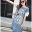 Lady Ribbon Dress Korea LR17190516 &#x1F380 Lady Ribbon's Made &#x1F380 Lady Lauren Street Style Chic Cotton and Printed Denim Dress เดรสผ้าเดนิม thumbnail 3