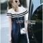 Lady Ribbon KOrea Denim Dress LR03130616 &#x1F380 Lady Ribbon's Made &#x1F380 Lady Aurelie Sporty Minimal Striped Denim Dress เดรสผ้าเดนิม thumbnail 1
