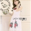 Lady Ribbon Dress LR17300516 &#x1F380 Lady Ribbon's Made &#x1F380 Lady Nina Sweet Sexy 3D Red Roses Embroidered White Lace Dress เดรสผ้าลูกไม้ thumbnail 4