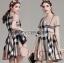Lady Ribbon Korea Mini Dress LR07130616 &#x1F380 Lady Ribbon's Made &#x1F380 Lady Agnes Burberry Signature Plaid Double-Brested Mini Dress thumbnail 1