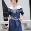 Lady Ribbon Korea Denim Dress LR16230616 &#x1F380 Lady Ribbon's Made &#x1F380 Lady Wendy Embroidered Denim Dress with Frilled Cotton Neck thumbnail 2