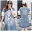 Lady Ribbon Dress Korea LR17190516 &#x1F380 Lady Ribbon's Made &#x1F380 Lady Lauren Street Style Chic Cotton and Printed Denim Dress เดรสผ้าเดนิม thumbnail 1