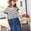 Lady Ribbon Korea Dress LR06060616 &#x1F380 Lady Ribbon's Made &#x1F380 Lady Miranda Casual Minimal Striped and Denim Dress thumbnail 2