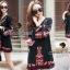 Closet Seoul Secret Say's... Bell Sleeve Bohe Style Red Cord Embroider Black Dress Ornamental Fringe thumbnail 1
