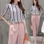 Lady Ribbon Korea Brand SV15060616 Best Seller-Restock &#x1F389Sevy Two Pieces Of Stripes Shirt With Pant Suit Sets thumbnail 2
