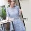 Lady Ribbon Korea Dress &#x1F380 Lady Ribbon's Made &#x1F380 Lady Ariana Sweet Feminine French Lace Dress in Light Blue เดรสผ้าลูกไม้ thumbnail 3
