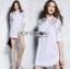 Dress Lady Ribbon Korea Cotton Long Dress Shirt เดรสเชิ้ต thumbnail 3