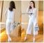 Lady Ribbon Korea Mini Dress &#x1F380 Lady Ribbon's Made &#x1F380 Lady Cara Holiday Casual White Lace Cropped Top and Culottes Set thumbnail 1
