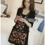 Floral Embroidered Black cotton Dress thumbnail 1