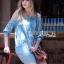 Lady Ribbon Korea Dress &#x1F380 Lady Ribbon's Made &#x1F380 Ashley Summery Off-Shoulder Denim Cotton and Lace Dress เดรสเปิดไหล่ thumbnail 2