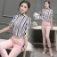 Lady Ribbon Korea Brand SV15060616 Best Seller-Restock &#x1F389Sevy Two Pieces Of Stripes Shirt With Pant Suit Sets thumbnail 3