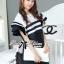 Dress Lady Ribbon Koreain Navy Style เดรส thumbnail 3