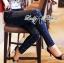Lady Ribbon Korea เสื้อผ้าเกาหลี ของแท้พร้อมส่ง Lady Ribbon Denim LR17250716 &#x1F380 Lady Ribbon's Made &#x1F380 Lady Kim Skinny Jeans with Crystal Embellished thumbnail 2