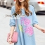 Lady Ribbon Korea Brand SS03300516 Seoul Secret Say's... Pastel Fink Paint Denim Dress thumbnail 2