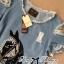 Lady Ribbon Korea LB11160516 &#x1F380 Lady Ribbon's Made &#x1F380 Lady Julia Horse Embellished Ripped Faded Denim Dress เดรส thumbnail 5