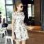 Lady Ribbon Korea Closet Dress Korea Design By Lavida noble green leaf printing luxury lace dress code thumbnail 2