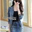Lady Ribbon เสื้อผ้าเกาหลี LR11140716 &#x1F380 Lady Ribbon's Made &#x1F380 Lady Olivia Sexy Sporty Zippy Denim Jacket and Skirt with Belt thumbnail 5