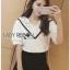Lady Ribbon เสื้อผ้าเกาหลี LR16140716 &#x1F380 Lady Ribbon's Made &#x1F380 Lady Analeigh Sweet Chic Monochrome Lace and Cotton Blouse เสื้อคอตตอน thumbnail 5