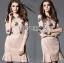 Lady Ribbon Korea Lace Dress เดรสผ้าลูกไม้สีชมพูนู้ด thumbnail 2