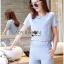 Lady Ribbon Korea Dress ผ้าลูกไม้ LR18230616 &#x1F380 Lady Ribbon's Made &#x1F380 Lady Stephanie Sweet Minimal Striped Cotton Cropped Top with Lace Trim and Pants thumbnail 3