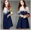 Lady Ribbon เสื้อผ้าเกาหลี LR14110716 &#x1F380 Lady Ribbon's Made &#x1F380 Lady Selena Feminine Minimal White Lace and Cotton Dress เดรสผ้าคอตตอน thumbnail 1