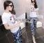Lady Ribbon's Made &#x1F380 Chanel Vivid Floral Printed T-Shirt and Floral Printed Slouchy Pants Korea Set thumbnail 3