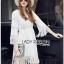 Lady Ribbon เสื้อผ้าเกาหลี LR03140716 &#x1F380 Lady Ribbon's Made &#x1F380 Lady Kate Modern Bohemian Fringed White Lace Dress เดรสผ้าลูกไม่ประดับพู่ thumbnail 3