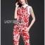 Lady Ribbon Korea LB06160516 &#x1F380 Lady Ribbon's Made &#x1F380 Lady Kimberley Korea Spring Red Floral Printed Collared Top and Pants Set thumbnail 4