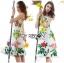 Lady Ribbon Korea's Made &#x1F380 Lady Rosie English Roses Printed White Sleeveless Dress thumbnail 3
