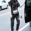 Korea Design By brand cliona Lavida fashionista colorful printed black chic jumpsuit coed733 จั้มสูททรงยาว ดีไ thumbnail 2