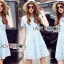 Lady Ribbon Dress Lady Ribbon Korea LR22190516 &#x1F380 Lady Ribbon's Made &#x1F380 Lady Alexis Sweet Minimal Baby Blue Lace Dress เดรสผ้าลูกไม้ thumbnail 1
