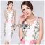 Dress เดรสผ้าลูกไม้ทรงบอดี้คอนตกแต่งลายดอกไม้สีชมพู thumbnail 1