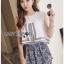 Lady Ribbon เสื้อผ้าเกาหลี LR15140616 &#x1F380 Lady Ribbon's Made &#x1F380 Lady Florence Hippie Chic Jersey Cropped Top and Printed Shorts with Tassels เซ็ตเสื้อคร็อป thumbnail 4