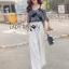 Lady Ribbon Korea Dress LR17060616 &#x1F380 Lady Ribbon's Made &#x1F380 Lady Alana Casual Chic Monochrome Printed Chiffon Jumpsuit จั thumbnail 3