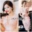 Lady Ribbon Korea Dressเสื้อผ้า LR21010816 &#x1F380 Lady Ribbon's Made &#x1F380 Lady Gabriella Sexy Feminine Flower Embroidered Pinky Dress เดรสผ้าลูกไม้สีชมพู thumbnail 2