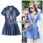 Lady Ribbon Korea Denim Dress LR18130616 &#x1F380 Lady Ribbon's Made &#x1F380 Lady Erin Casual Denim Shirt Dress with Printed Satin Scarf thumbnail 2