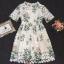 Lady Ribbon Korea Closet Dress Korea Design By Lavida noble green leaf printing luxury lace dress code thumbnail 5