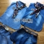 Lady Ribbon Korea Denim Dress LR20270616 &#x1F380 Lady Ribbon's Made &#x1F380 Moschino Country Girl Denim Set with Printed Pleated Scarf thumbnail 4