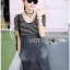 Lady Ribbon Korea Denim Dress LR13270616 &#x1F380 Lady Ribbon's Made &#x1F380 Comme des Garcons Jersey and Denim Dress เ thumbnail 3