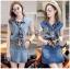 Lady Ribbon Korea Denim Dress LR20270616 &#x1F380 Lady Ribbon's Made &#x1F380 Moschino Country Girl Denim Set with Printed Pleated Scarf thumbnail 1