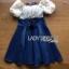 Lady Ribbon Korea Dressเสื้อผ้า Denim LR11010816 &#x1F380 Lady Ribbon's Made &#x1F380 Lady Rachel Sweet & Sexy Off-Shoulder Flower Lace and Denim Dress เดรสเปิดไหล่ thumbnail 6